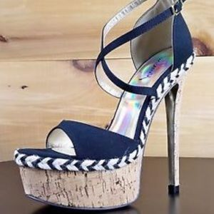 luciany Shoes - Luichiny Black Linen Cork High Heel Size 9 NWT